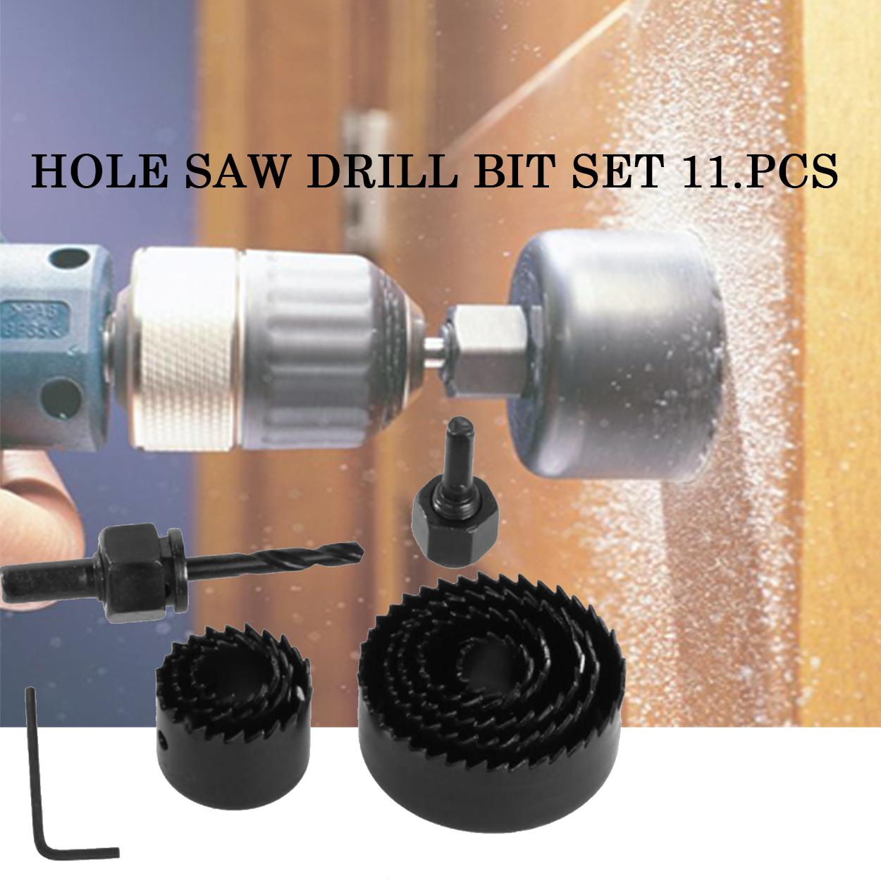 11Pcs Hole Saw Set Round Circular Drill Cutting Case Kit Metal Alloy Wood Drill