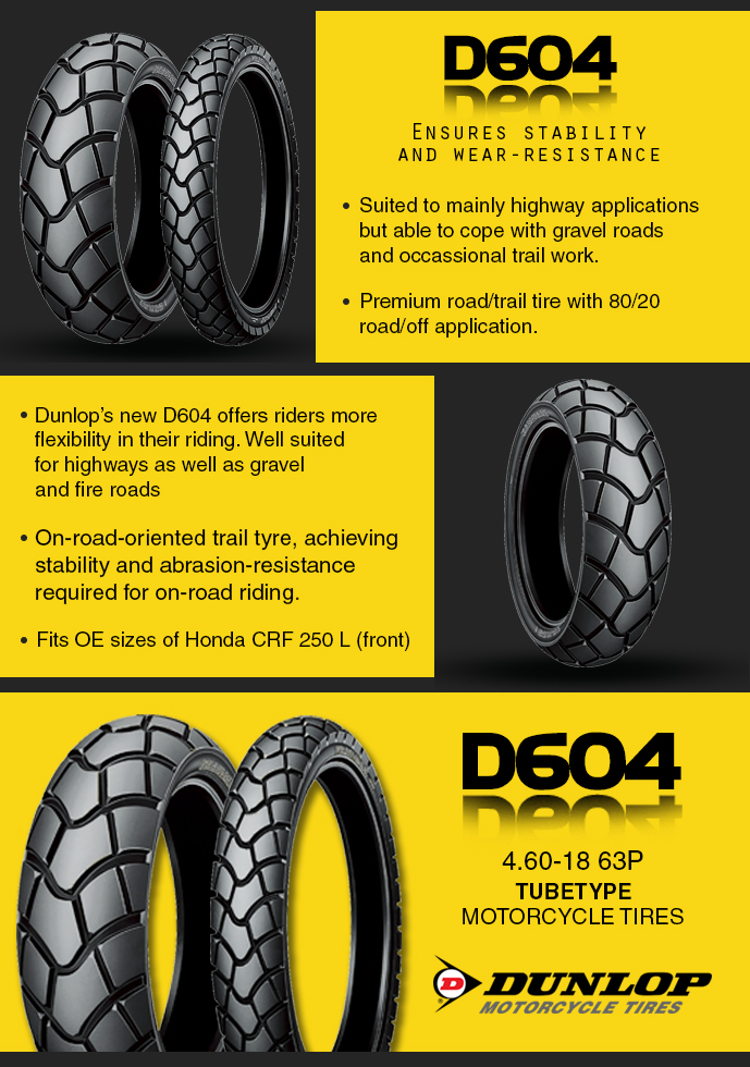 Dunlop D604 4 60-18 63P Tubetype Dual Action Motorcycle Tires
