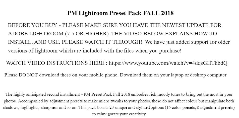 Peter Mckinnon Lightroom Preset Pack FALL 2018