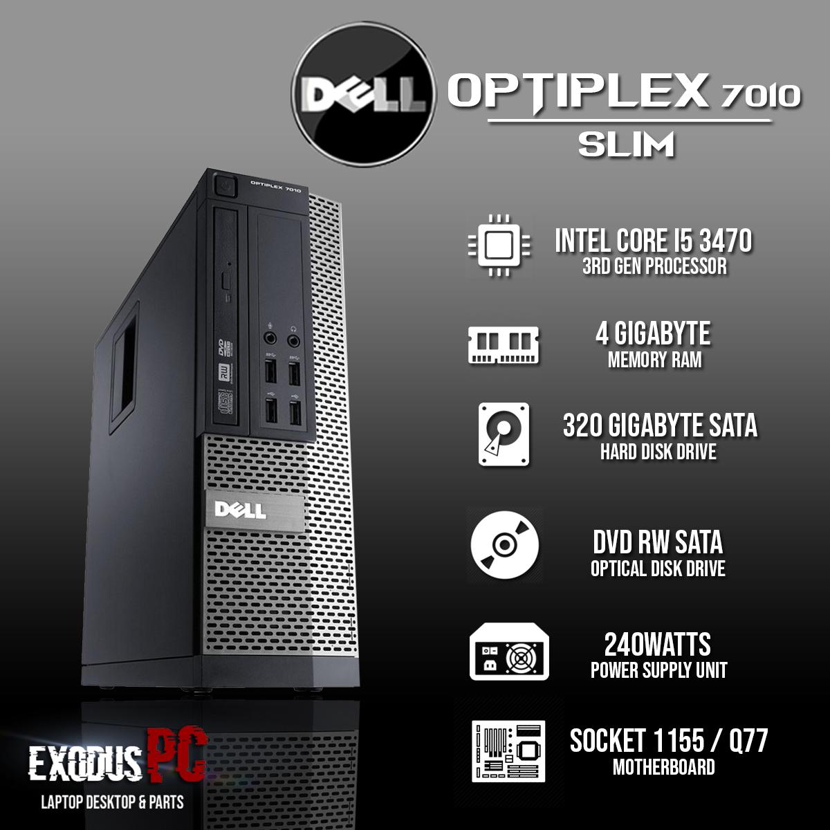 [CPU] Dell 7010 i5-3470 3 4Ghz 4GB 320GB With WIFI Reciever & Windows 10