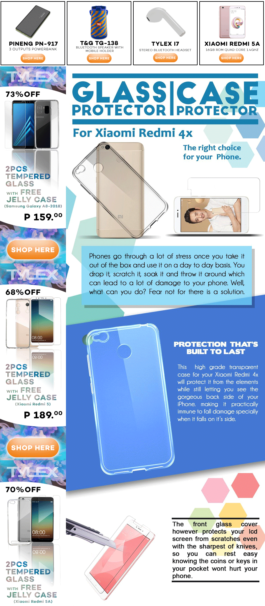 Specifications of Tylex Tempered Glass 2 Pcs with FREE Jelly Case For Xiaomi Redmi 4X (