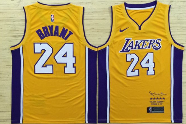brand new 8ae89 ea08e Los Angeles Lakers 24 Kobe Bryant Basketball Jersey Yellow Decommissioning  Limited