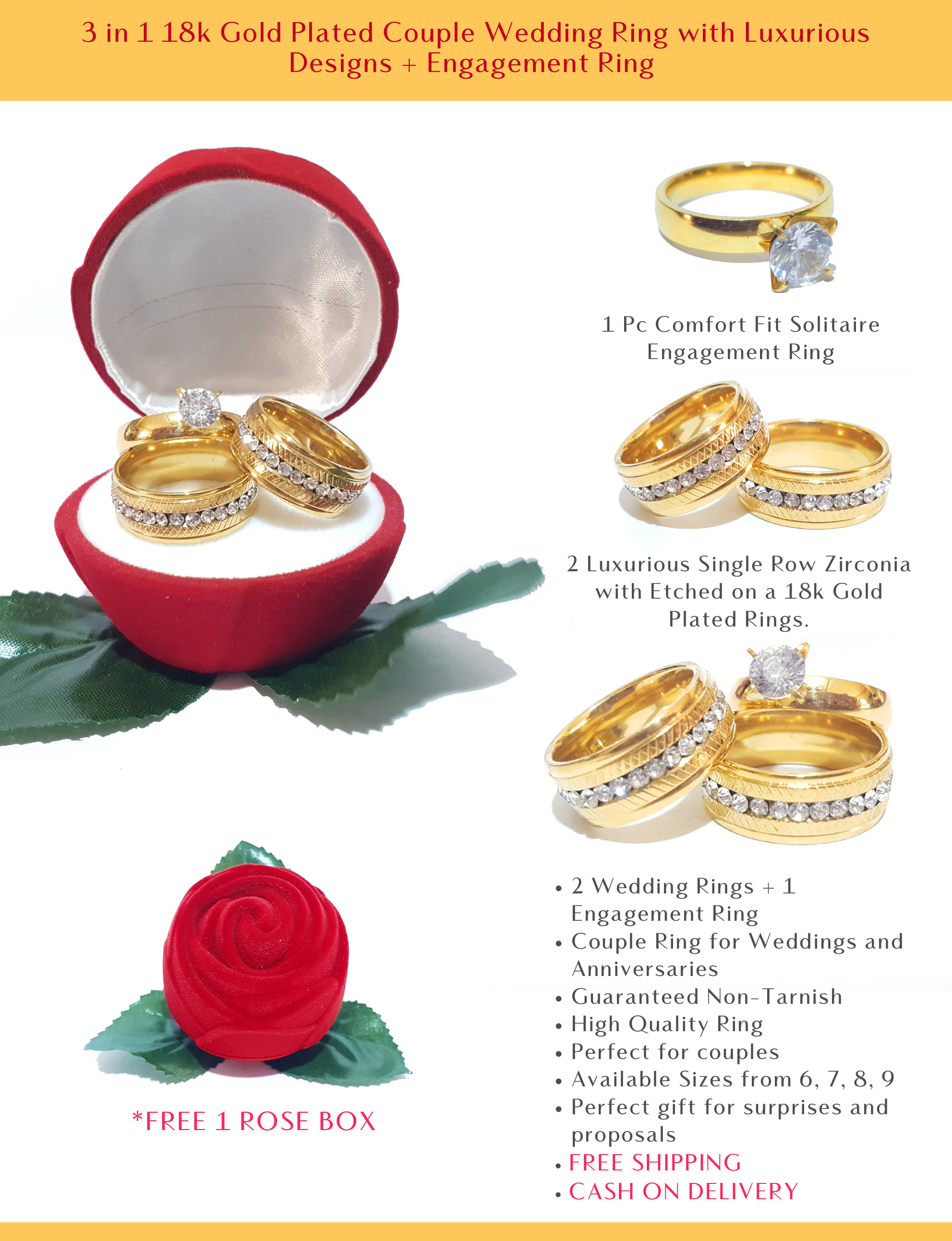 3 In 1 18k Gold Plated Couple Wedding Ring With Luxurious Designs