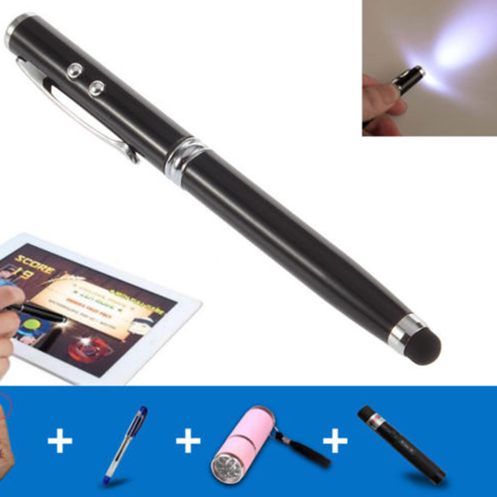 Black Laser Pointer Pen 4-in-1 LED Light Stylus for Capacitive Touch iPad