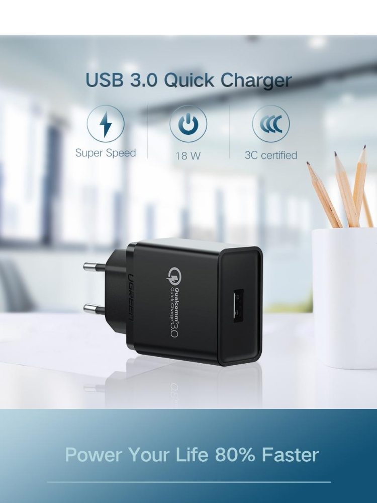 8d123afdf4781a UGREEN Quick Charge QC 3.0 USB Wall Charger, 18W Fast Rapid Wall Charger  RedMi Note 7 Samsung S8 S9 S7 Note8/Note 9 S6 Note 5, LG V30 V20 G6 Stylo  3, ...