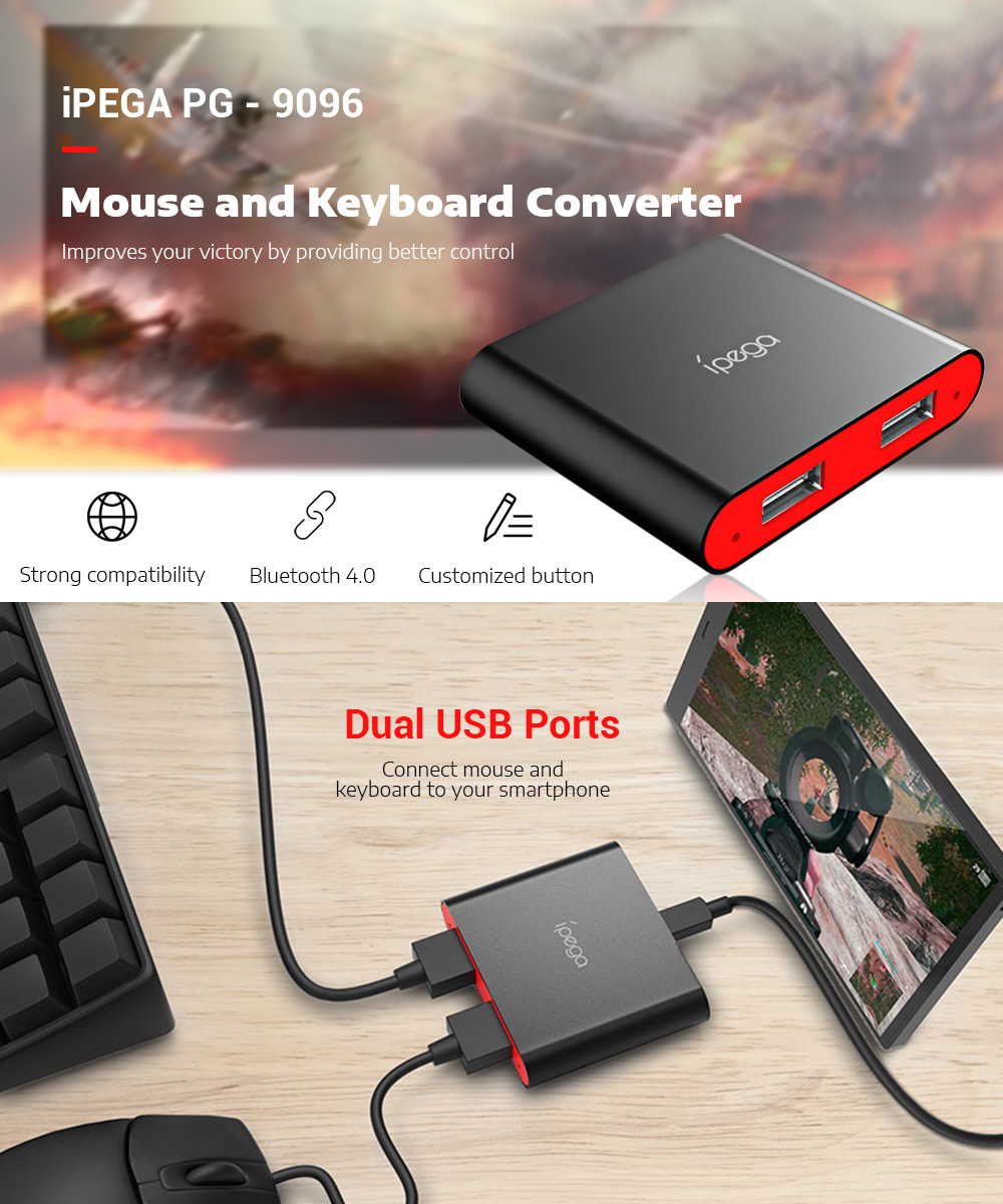 IPEGA PG-9096 Bluetooth Keyboard Mouse Converter for Game Controller Pubg  Android Mobile