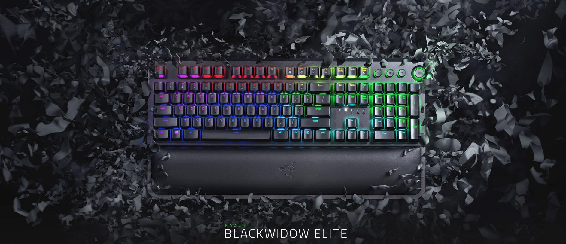 Razer Blackwidow Elite with Multi-Function Digital Dial / Macro Keys /  Ergonomic Wrist Rest Mechanical Keyboard (Razer Green / Clicky Keys)