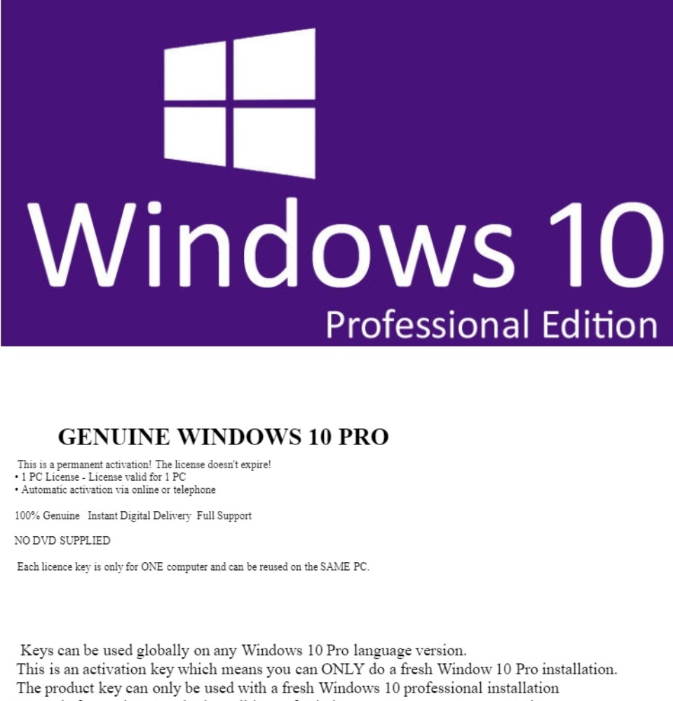 1 PER CUSTOMER - Microsoft Windows 10 Pro Professional 32/64bit Genuine  Product Key License Code – Instant Email Delivery
