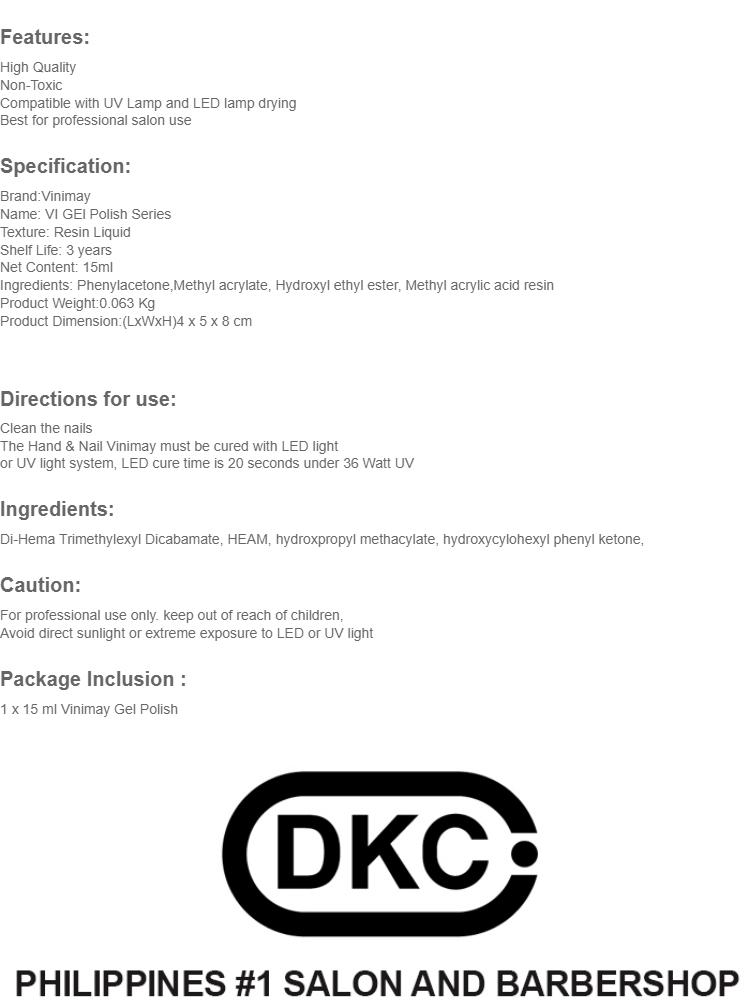 DKC 15 ml Vinimay Professional Nail Art Gel Polish V40's