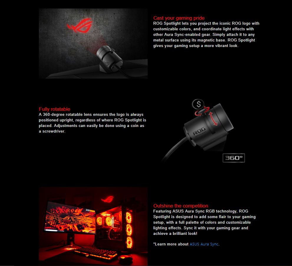 ASUS ROG Spot light USB logo projector with Aura Sync RGB LED