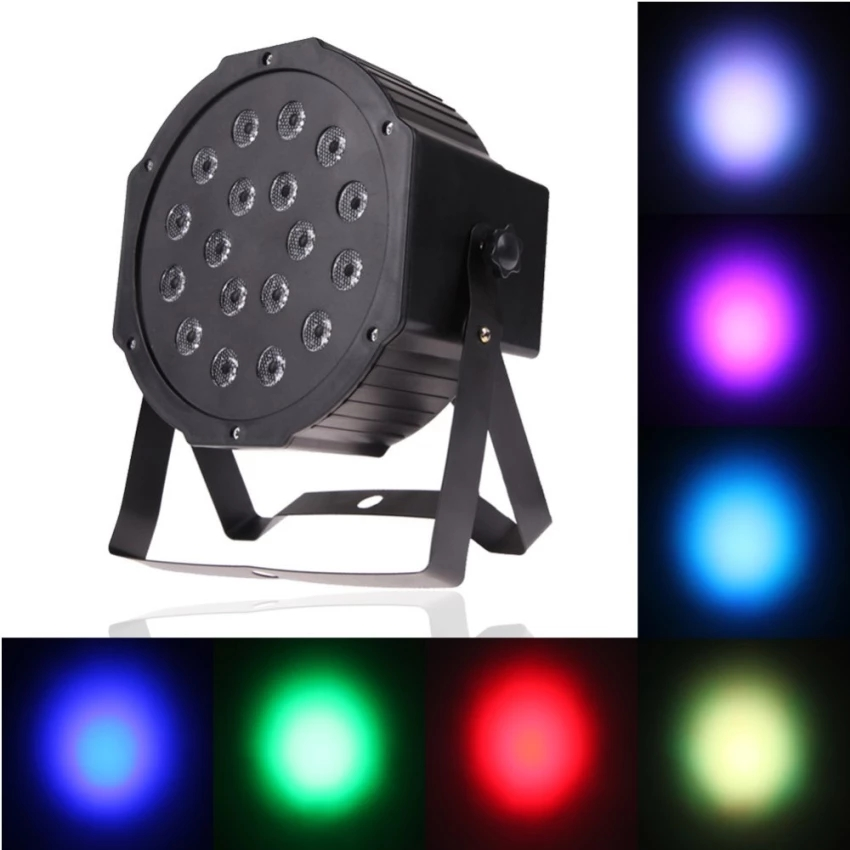 18LED 18W 6Channel Remote Control Mini PAR Light RGB Wash Effect Stage Lamp  Support DMX512 Sound Activation for Wedding Party DJ Bar Club