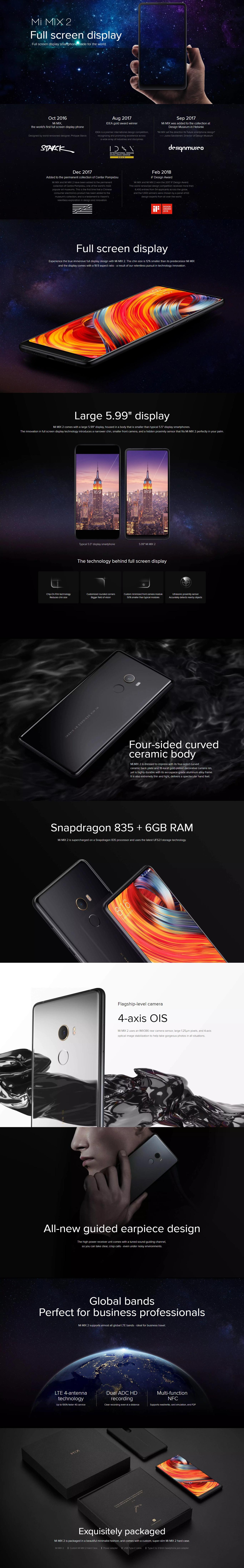 Xiaomi Mi Mix 2 128gb 6gb Ram Dual Sim Lte Ceramic Black New Iphone 7 Grs International Specifications Of Global Rom Version Intl