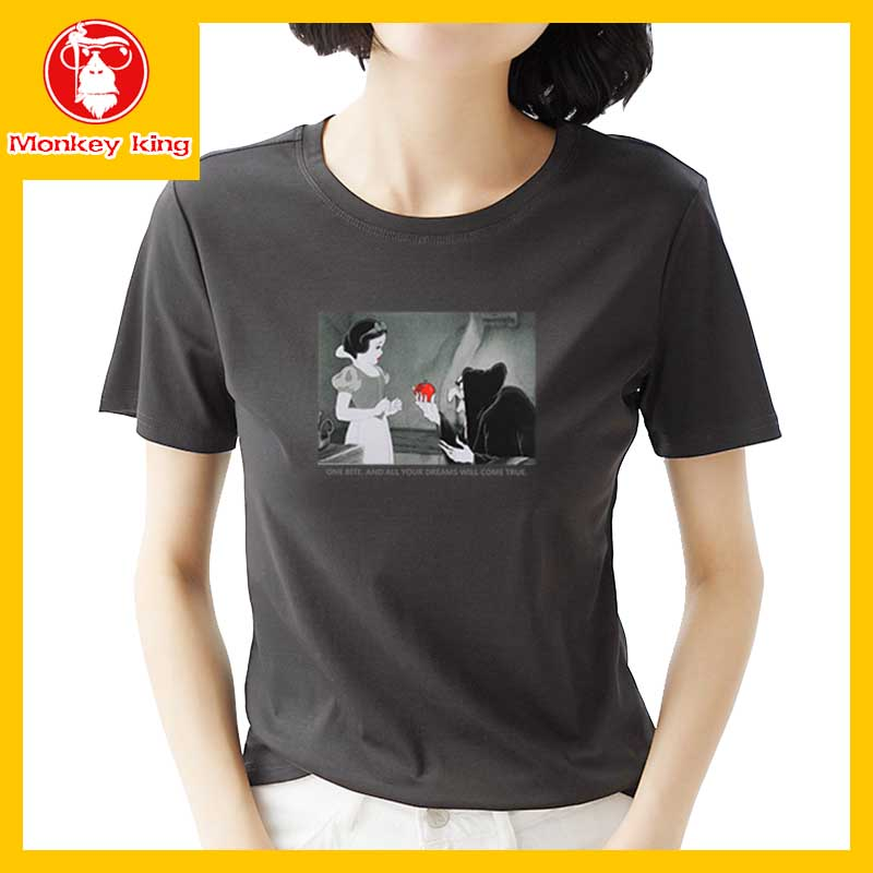 32cc1d8e1 ... neck T-shirt for Womens on sale Tees Tops Unisex Korean Fashion Short  sleeve Printed Graphic #0M5AC288 #Disney #Cartoon #Snow White #Apple #One  Bite And ...